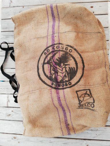 sac d'art original en toile de jute avec motif bonobo